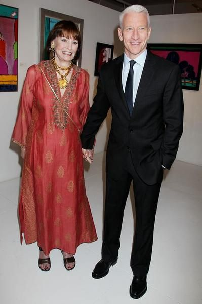 Gloria Vanderbilt, left, & her son, TV host & CNN correspondent Anderson Cooper 2012 in New York - Gloria Laura Vanderbilt (born 1924) is an American artist, author, heiress & socialite. She is a member of the Vanderbilt family of New York. She was the only child of railroad heir Reginald Claypoole Vanderbilt & his 2nd wife, Gloria Morgan. She became heiress to a half share in a $5 million trust fund upon her father's death when she was 18 months old.