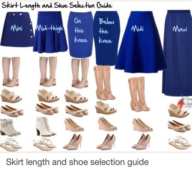 Shoe selection for different length skirts.