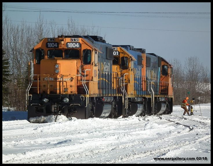 GP38-2's 1806, 1801, and 1804 are captured being lined out of #4 track at Cochrane Shops Feb. 4th.