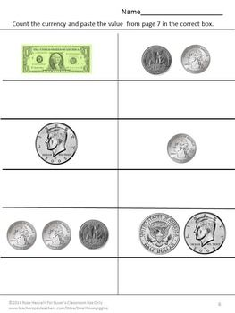 coin counting money skills for special education quarters half dollars dollars cut and paste. Black Bedroom Furniture Sets. Home Design Ideas