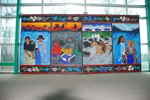 A Four Panel Pictoral narrative of Métis History-Parks Canada
