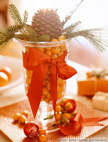 Kumquat and Pinecone Centerpiece | Babble