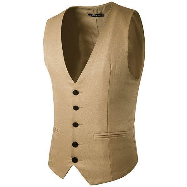 Slim fit fashion pure color suit vest ($23) ❤ liked on Polyvore featuring men's fashion, men's clothing, men's outerwear, men's vests, khaki, mens slim fit vest, mens vest, mens sleeveless vest, mens formal vest and mens khaki vest