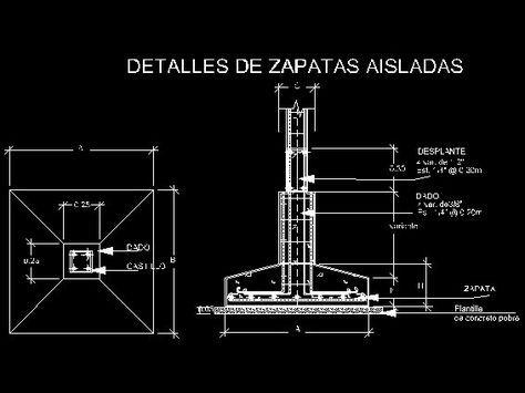 Zapatas - Descarga GRATIS de planos, archivos y bloques sobre arquitectura y construcción - Buscador de Arquitectura