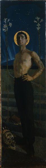 Akseli Gallen-Kallela (1865-1931) The Trip to Tuonela, 1888-1894  Oil on Canvas - 138.5 x 39.5 cm