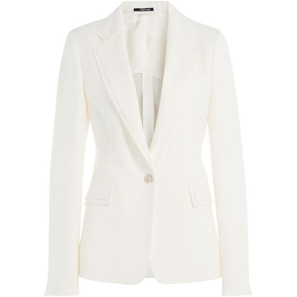 Maison Margiela Crepe Blazer ($2,680) ❤ liked on Polyvore featuring outerwear, jackets, blazers, white, tailored blazer, fitted jacket, fitted blazer, white blazer and slim blazer