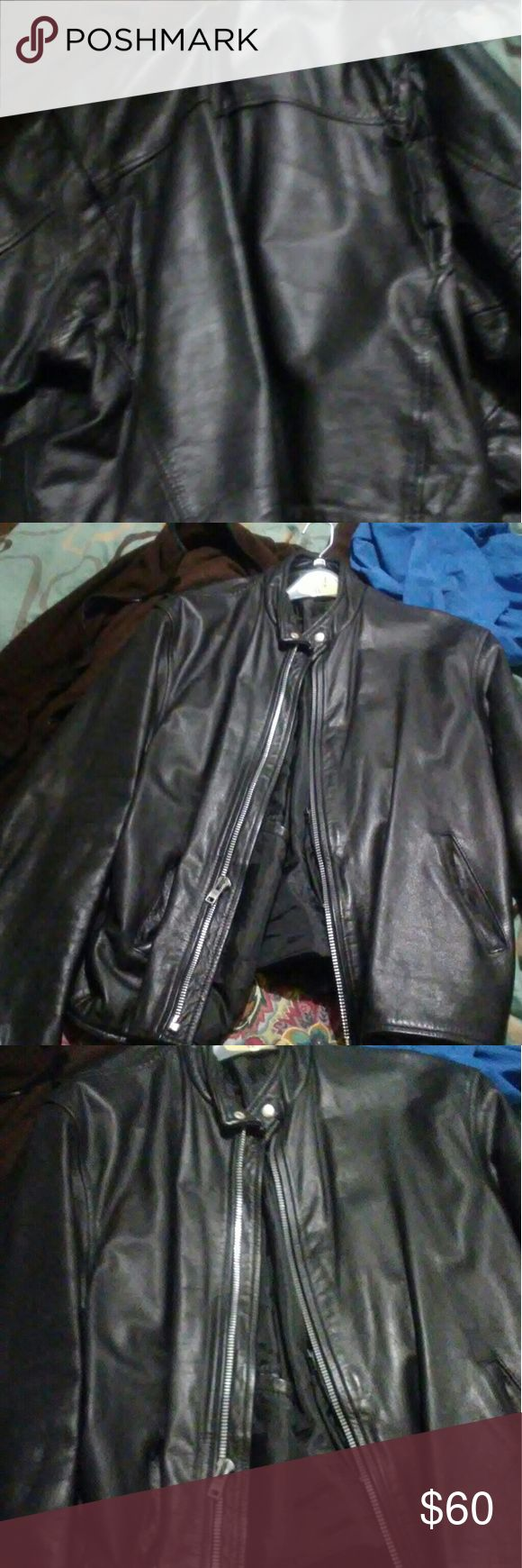 Leather(100%) mens motorcycle jacket All black, silver zippers, mens moto jacket. No rips tears, no abuse to it. Size 5xl( cut like a 3xl) Jackets & Coats Performance Jackets