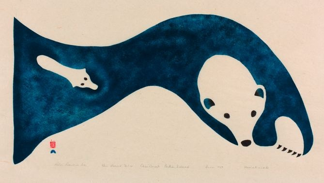This print of Polar Bear and Cub in Ice, by Inuit artist Niviaxie (1908-1959) Cape Dorset, Canada.