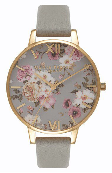 Women's Olivia Burton Flower Show Leather Strap Watch, 38Mm