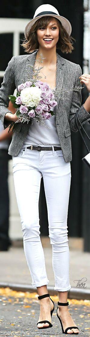 gray bkazer, white jeans. @roressclothes closet ideas #women fashion outfit #clothing style apparel