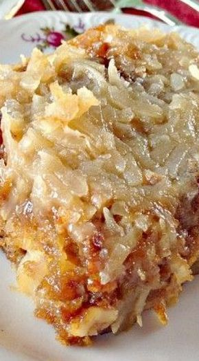 Texas Tornado Cake - also known as Fruit Cocktail Cake - I think I would leave off the Broiled Coconut Icing and just beef up the streusel topping