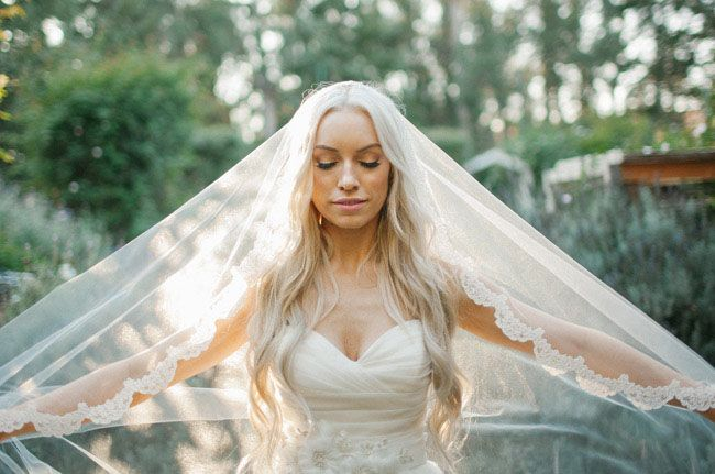 lace veiled bride