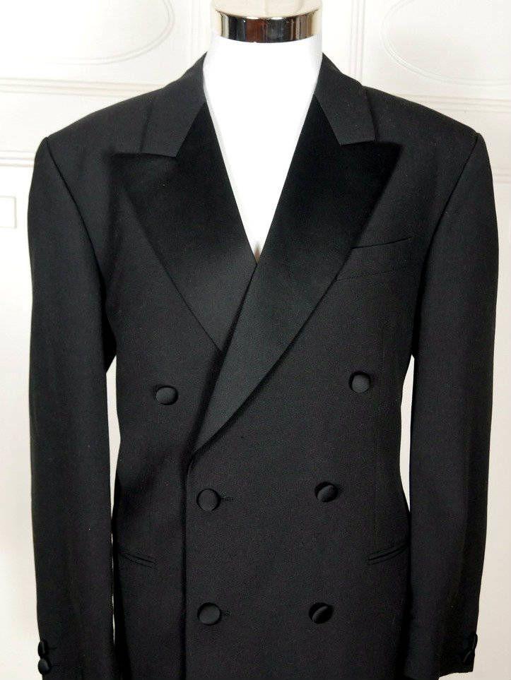 Vintage Tuxedo Jacket, Double-Breasted Black Dinner Jacket, 1980s European Vintage Smoking Jacket, Peaked Lapel Tux: Size 44R by YouLookAmazing on Etsy