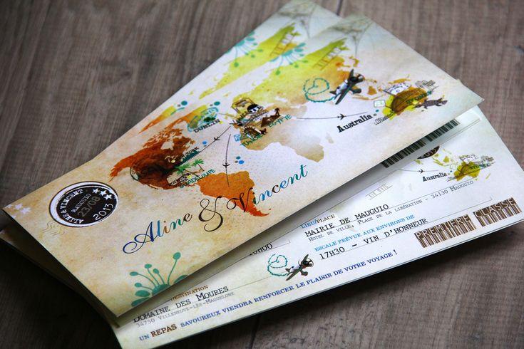 Faire-part mariage thème voyage, billet d'avion, embarquement
