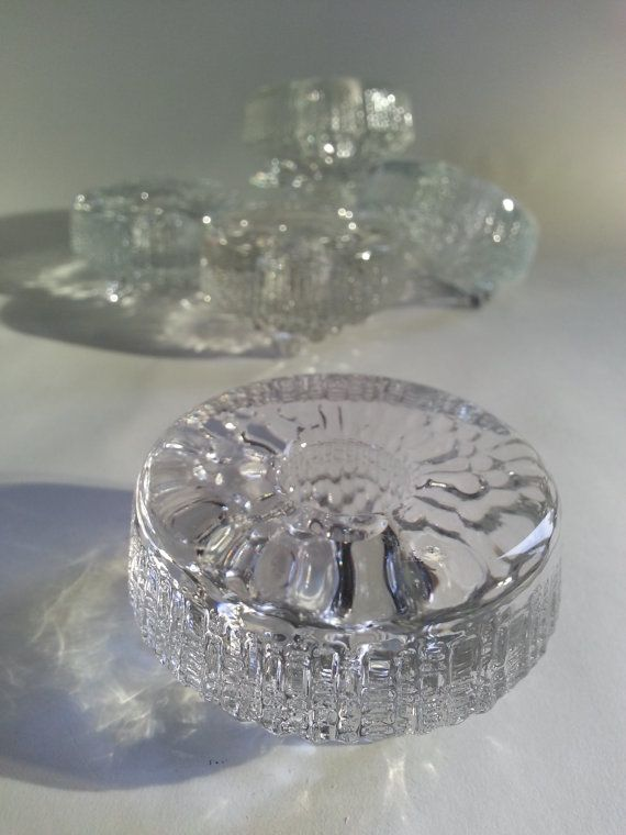Vintage Iittala Ultima Thule Votive or Crystal Candle Holder by Tapio Wirkkala.. Finnish Design.. made in Finland..