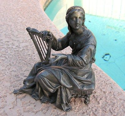 Antique Vintage Cast Spelter Metal Statue Lady Harp Player
