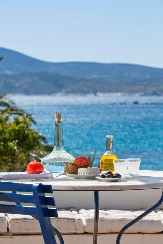 Ouzo time in Schinoussa, Greece