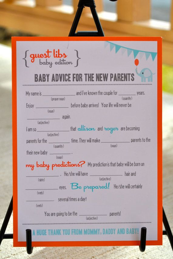 New  MAD LIBS  BABY shower edition  Circus Elephant  by BlushNotes, $20.00