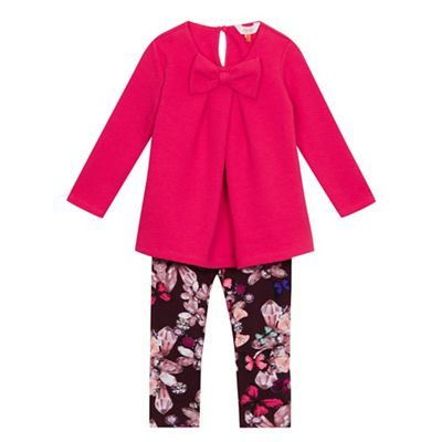 Baker by Ted Baker Girls' pink top and floral trousers set | Debenhams