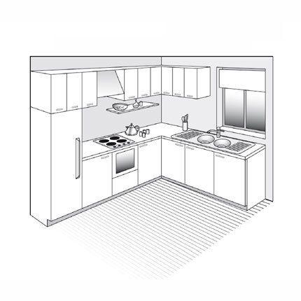 PLan de cuisine en L, ouverte sur le séjour