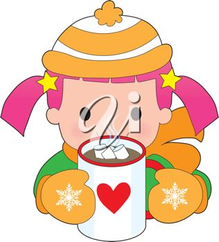 hot chocolate mug clipart. iclipart - a child dressed for winter with toque and mitts, has mug of hot chocolate clipart