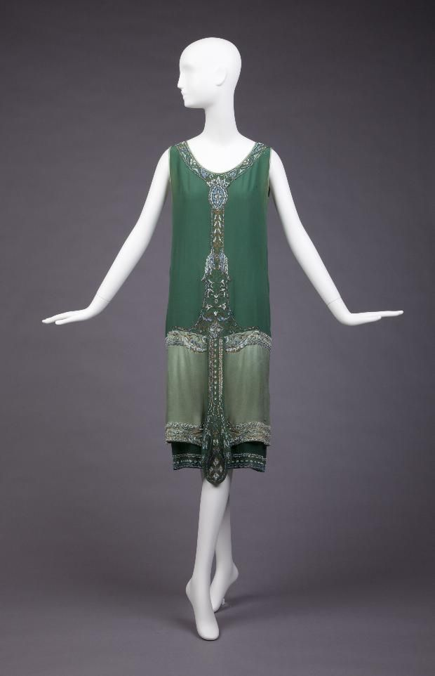 1925 Callot Soeurs (A) Overdress, (B) Slip Dress (B)Off-White With Green Border Of Beading Around Bottom, (A) Green Satin With Beading At Neck, Center