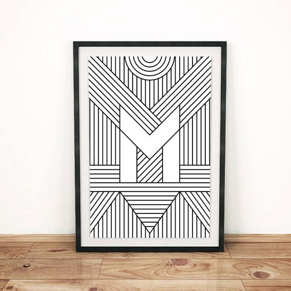 Typography Print Letter Print M Initial by FactoryTwentyOne