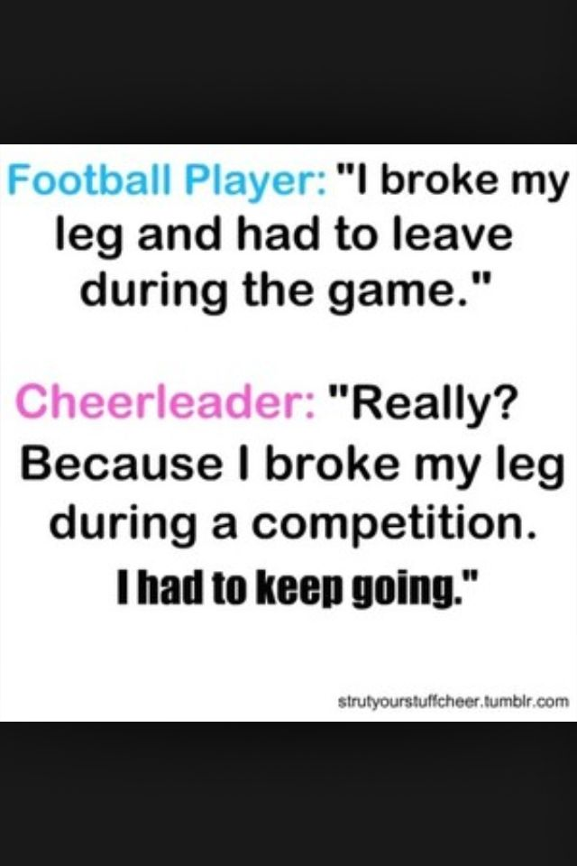 I cheered with a girl who broke her ankle during competition one time..she finished the routine through the pain...respect the sport.