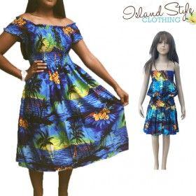 Blue sunset mother & daughter hawaiian fancy dress