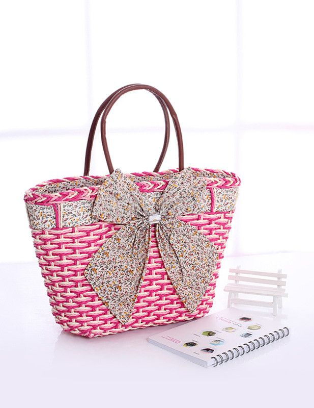 Beautiful Unspecified Shape Bow Wicker and Rattan Woman's Tote Bag