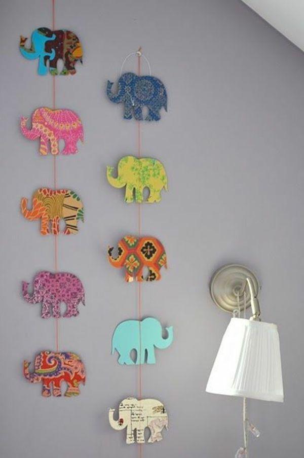 babyzimmer gestalten diy girlande elefanten