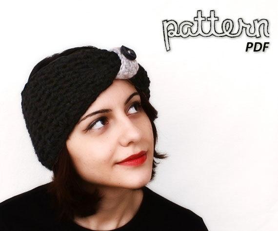 Crochet Pattern - Black Pin-Up Turban Headband