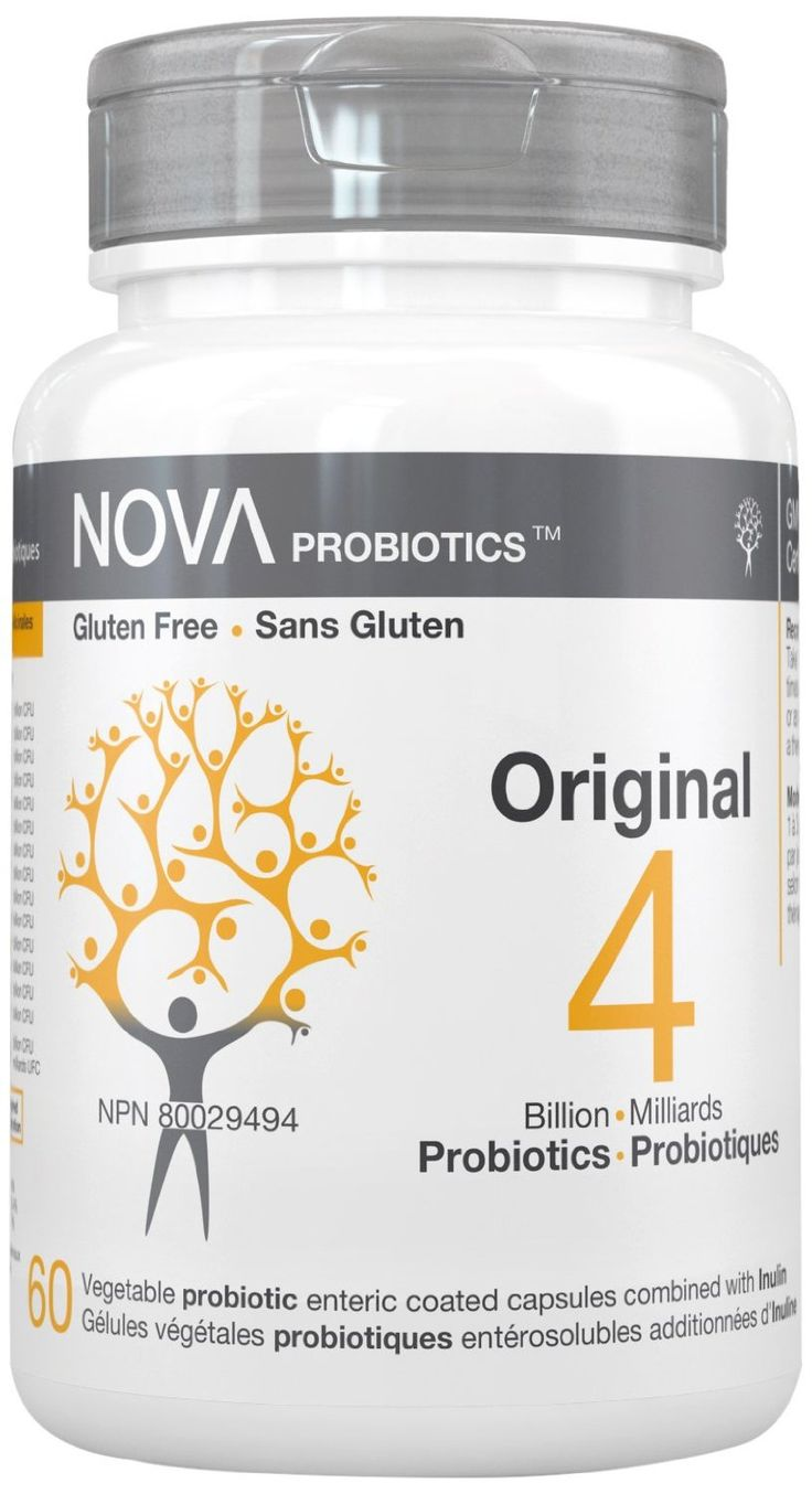 NOVA Probiotics -  ORIGINAL - 4 Billion CFU per enteric-coated capsule.  -Contributes to gastrointestinal health by assisting beneficial bacteria's activities; -Helps reduce intestinal discomfort and flatulence; -Promotes bowel regularity; -Helps to strengthen the natural defenses of the body, enhance immunity response and strengthen the intestinal barrier.