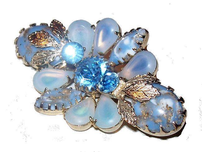 blue leaf brooch two tone blue rhinestone pin Vintage blue rhinestone flower pin high end flower pin vintage rhinestone flower brooch