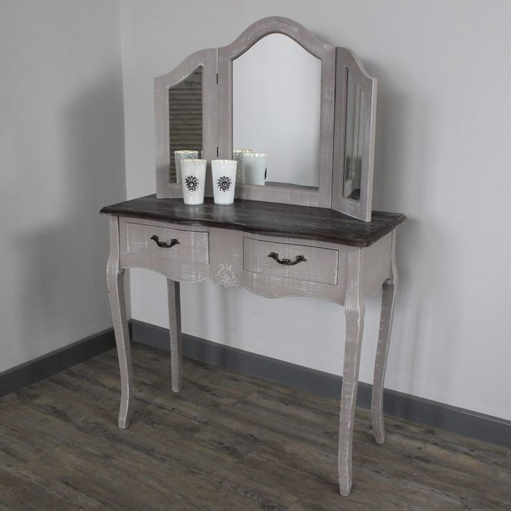French Grey Range - Dressing Table and Triple Mirror A fantastic dressing table, mirror finished in sophisticated French grey The dressing table has two drawers providing essential storage Incredibly stylish this dressing table, mirror The mirror is split into three sections and the sides are hinged for adjustment  http://www.melodymaison.co.uk/french-grey-dressing-table-mirror.html  £189.95