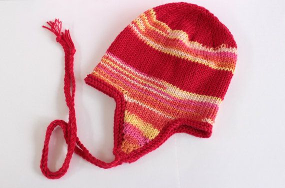 Red Earflap HatFairisle Baby HatUnisex Baby by Pinknitting on Etsy