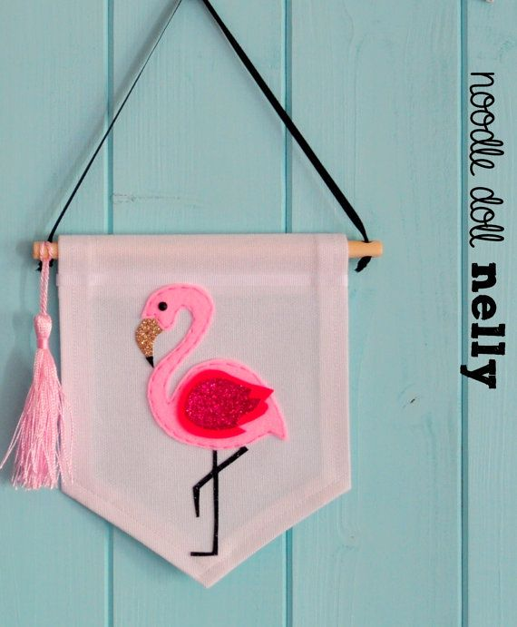 The Flamingo mini banner Banner Pennant Canvas by NoodledollNelly
