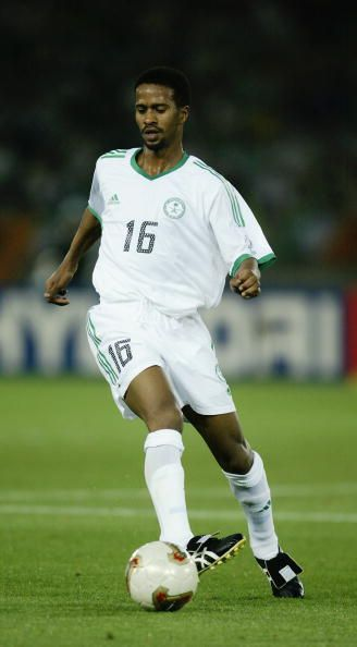 Khamis Alowairan Al Dossari of Saudi Arabia runs with the ball during the FIFA World Cup Finals 2002 Group E match between Republic of Ireland and...