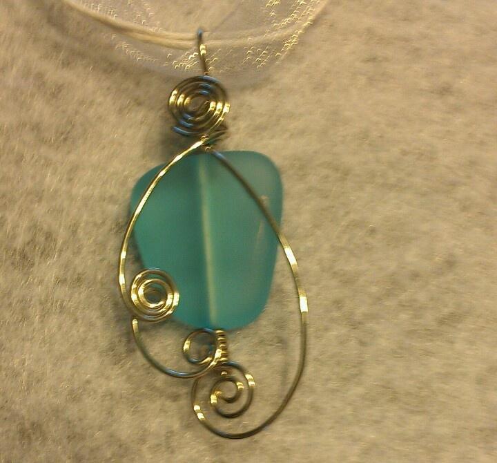Aqua sea glass silver