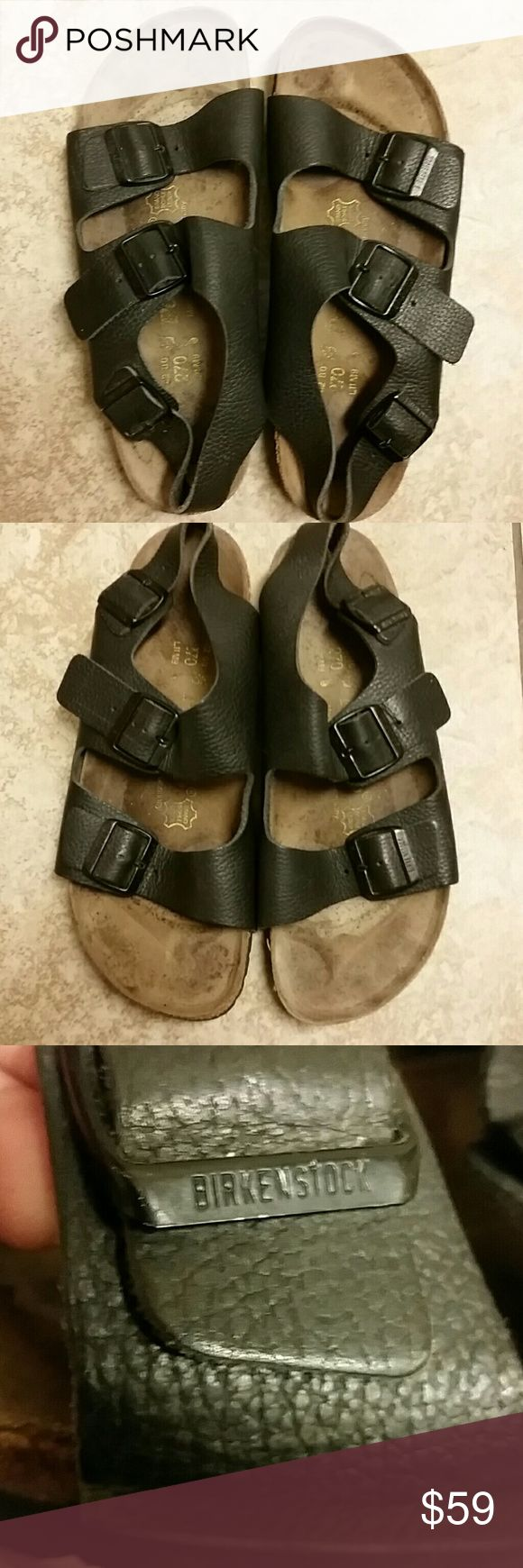 Black Birkenstocks Sandals Size 11 Some interior staining as seen in pics. Can probably be cleaned up or have the inserts replaced. Made in Germany. Women's size 11 Men's size 9. Birkenstock Shoes Sandals