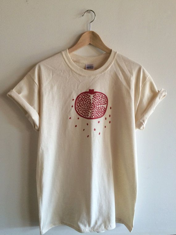Screen Printed Pomegranate T Shirt Fruit Print by andMorgan