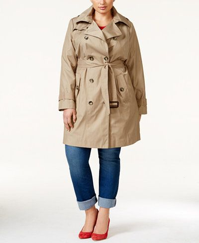 London Fog Plus Size All-Weather Hooded Trench Coat