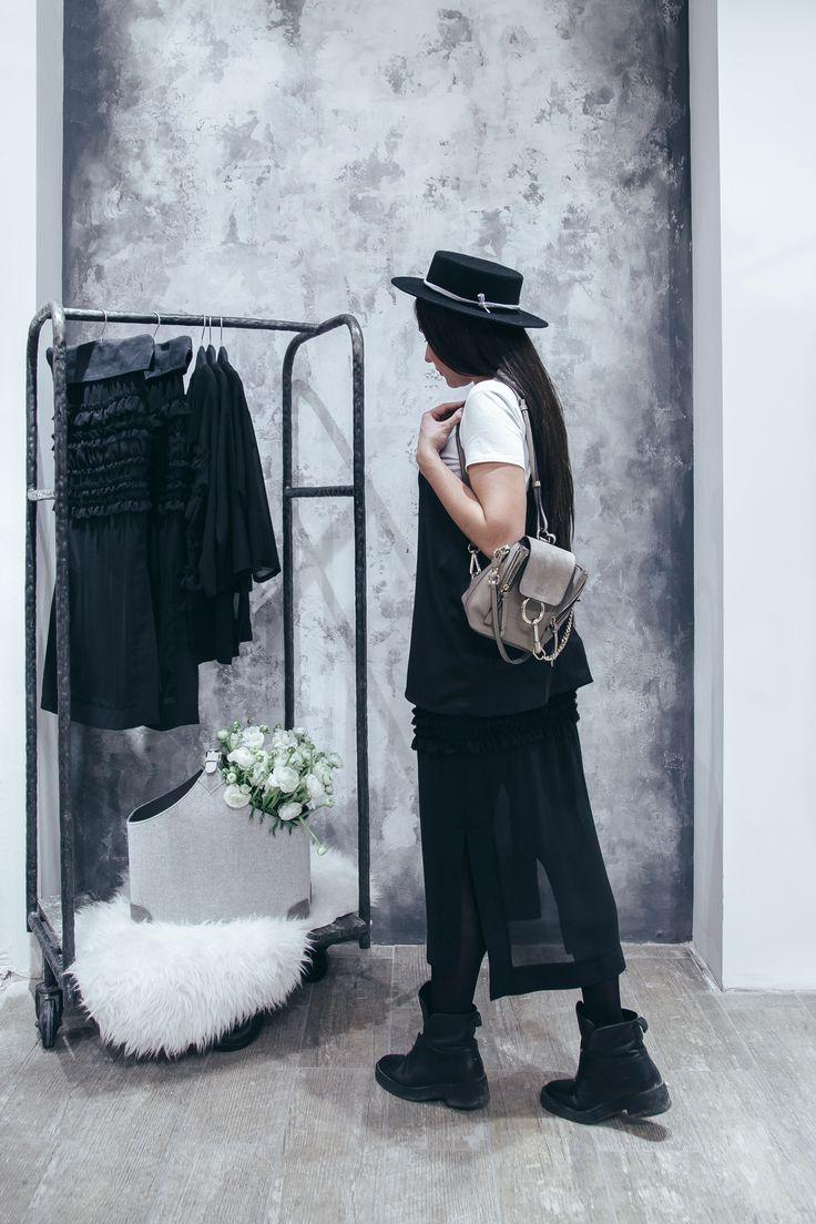 Achers black midi skirt from silk decorated with ruffles