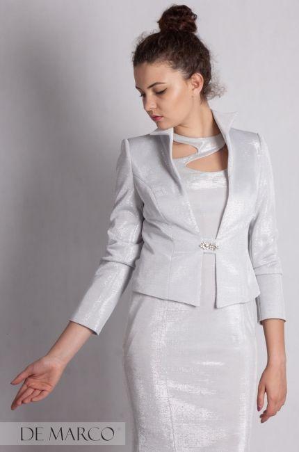 9ddc97a866 Komplety na wesele. Srebrny żakiet z sukienką szyty na miarę dla mamy wesela.