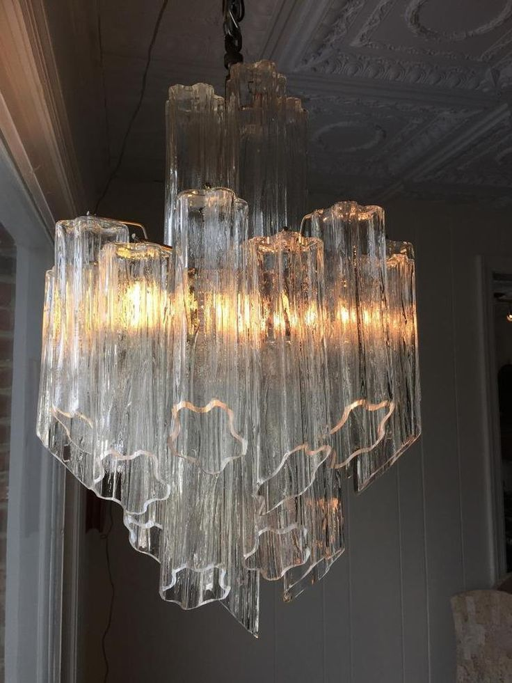"25"" Vintage Hollywood REGENCY Murano Camer VENINI Era TRONCHI Glass CHANDELIER"