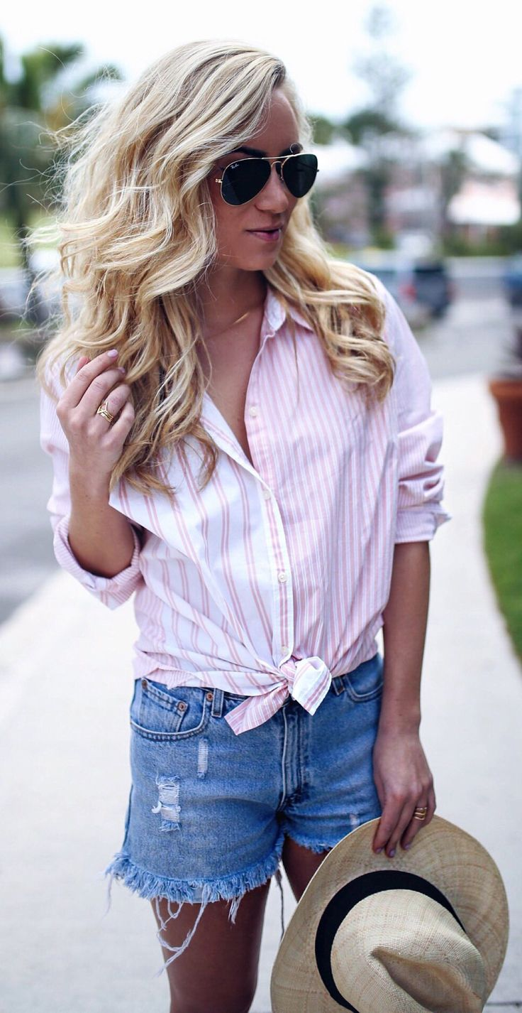 #spring #outfits  Pink Striped Shirt & Ripped Denim Short