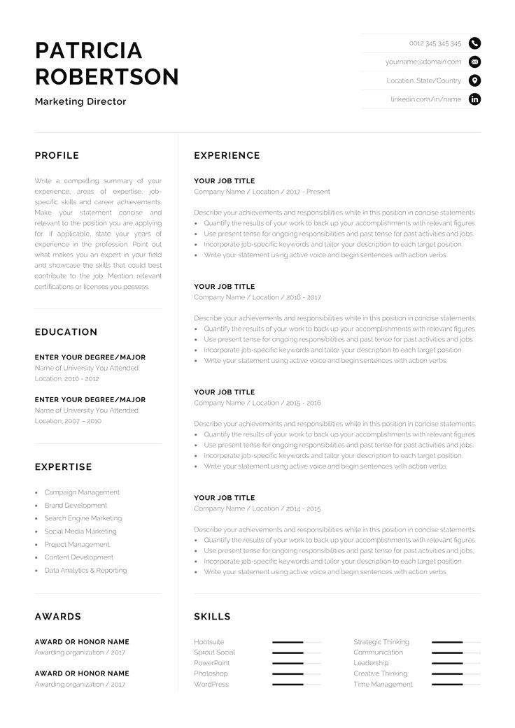 Resume Template With Matching Cover Letter And References Page Professional Resume Template For Microsof Conseils Pour Cv Modele Cv Modele De Cv Professionnel