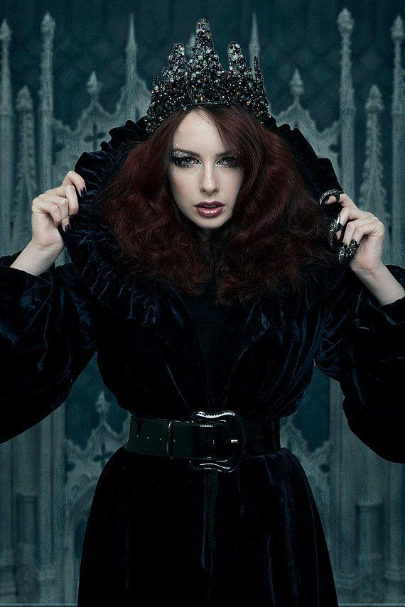 Black ''Reginam Malam'' Gothic Couture Beaded Wirework by ...