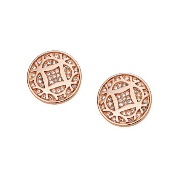 Fossil Vintage Iconic Rose Tone Crystal Circle Stud Earrings
