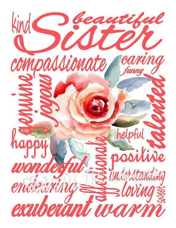 Sister Subway Art Printable Sister Word Art Sister Gift